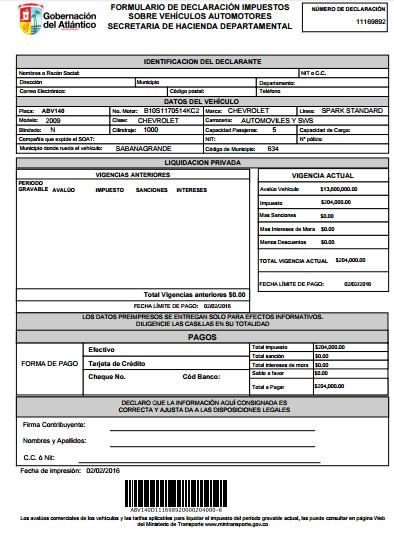 formulario de declaración impuestos sobre vehículos automotores